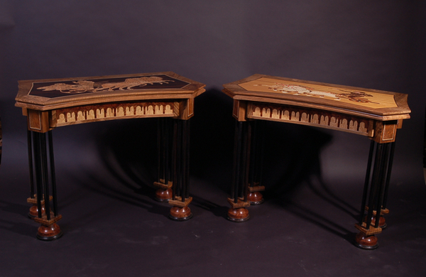 Pair of concertina card tables