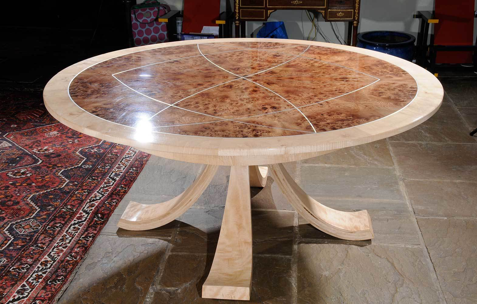 Rippled Sycamore and Burr Elm Dining Table
